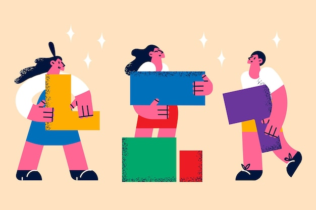 Teamwork, samenwerking en samenwerking concept. groep jonge mensen, zakencollega's, stripfiguren die stukjes van één puzzel aan elkaar bevestigen als teamleden vectorillustratie