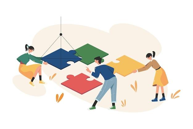 Teamwork schikt het bedrijfsconcept van de puzzel