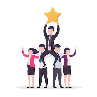 Teamwork succes. mensen uit het bedrijfsleven, zakenman met gouden sterren en recensies.
