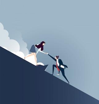 Teamwork succes. platte ontwerp mensen bedrijfsconcept.