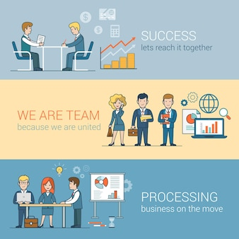 Teamwork succes verwerking van infographics. lineaire platte lijn kunststijl mensen bedrijfsconcept. conceptuele zakenmensen teamwerk collectie. globe laptop tafel man vrouw bord.