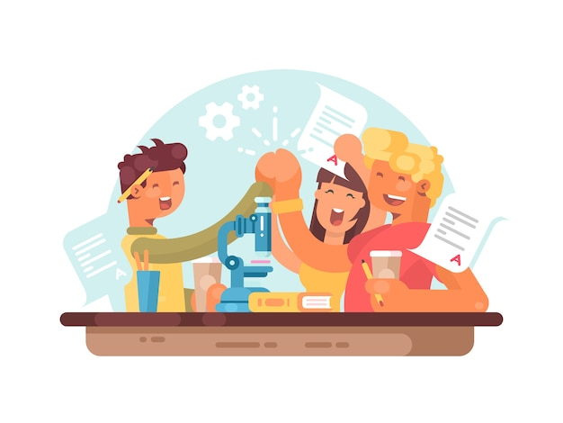 Teamwork, succesvolle studenten. jongeren zijn blij met wetenschappelijk succes