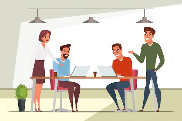 Teamwork, teambuilding illustratie, coworking werkplek. collega's samenwerken, brainstormen, samenwerking met zakenpartners