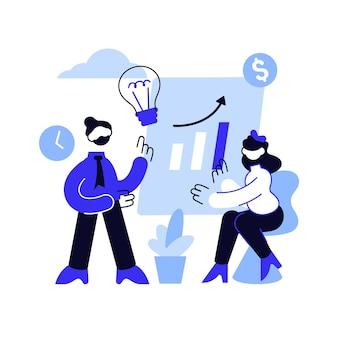 Teamwork van het bedrijf, het genereren van ideeën. discussie, vergadering, conferentie. corporate werknemers karakters brainstormen, bedrijfsstrategie planning.