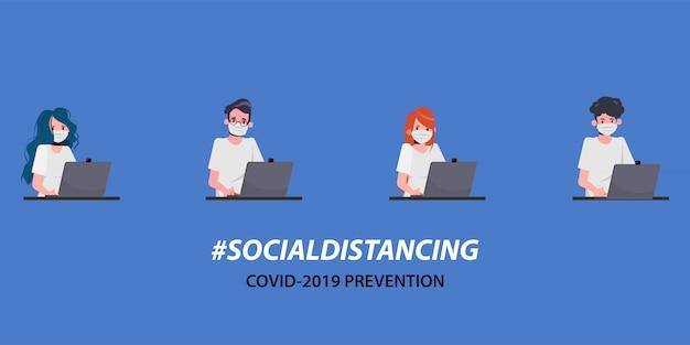 Teamwork van mensen uit het kantoor houdt sociale afstand. stop covid-19 coronavirus.