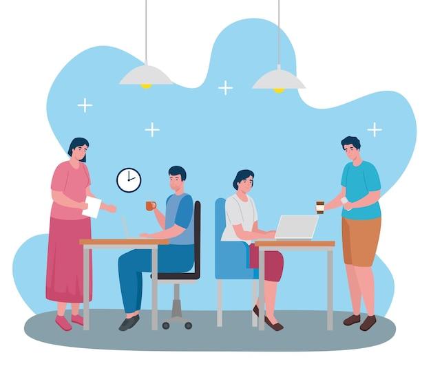 Teamwork van werknemers die bureaukarakters samenwerken