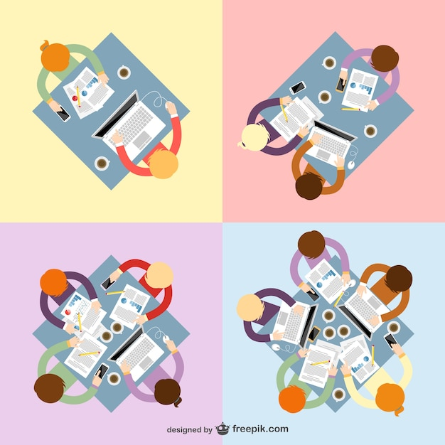 Teamwork vectoren pakken
