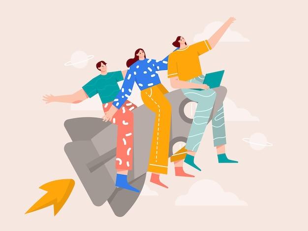 Teamwork vliegen met de illustratie van het raketproduct