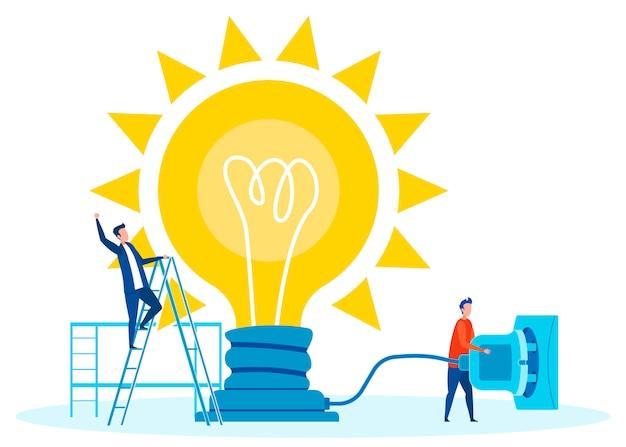 Teamwork voor innovaties concept vlakke afbeelding