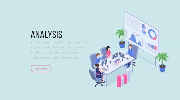Teamwork, zakelijke onderhandelingen, data-analyse, brainstorming, lay-out van mannelijke en vrouwelijke werknemers.