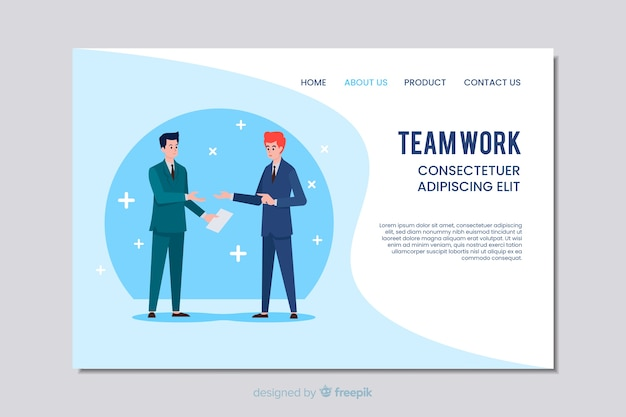 Teamwork zakelijke websjabloon in plat ontwerp