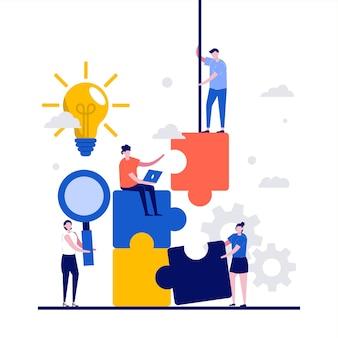 Teamworkconcept met karakter. collega zetten puzzel samen.