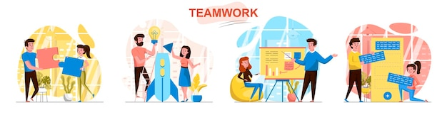 Teamworkscènes in vlakke stijl