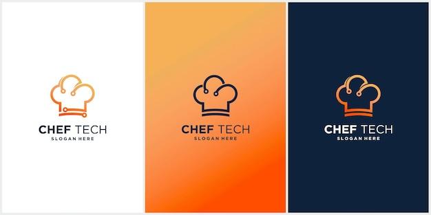Tech chef-kok hoed logo-ontwerp vector modern kooktechnologie logo-ontwerp