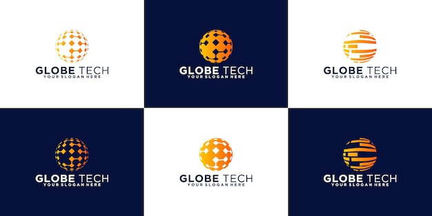 Tech globe logo-ontwerpcollectie
