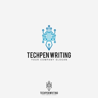Tech pen schrijven logo