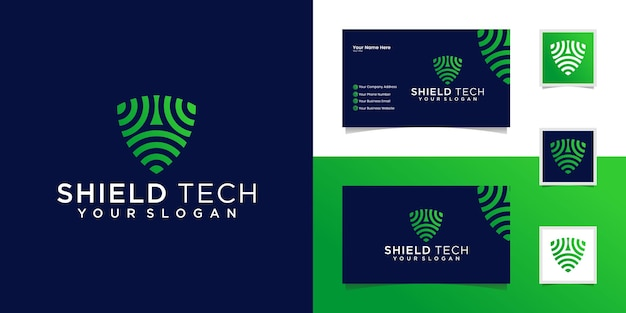 Tech shield security logo ontwerpsjabloon en visitekaartje