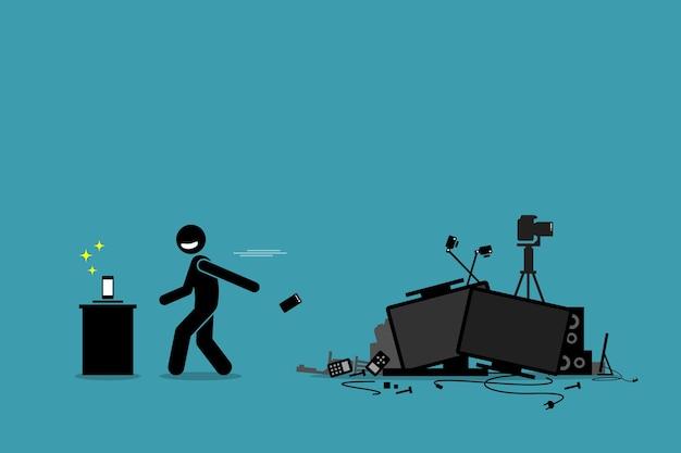 Tech trash-probleem. het kunstwerk toont een man die een oude telefoon en andere verouderde apparaten weggooit om de nieuwste technologie en gadgets na te streven.