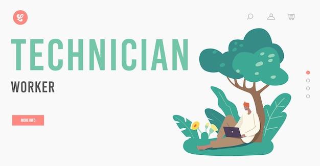 Technichan werknemer bestemmingspagina sjabloon. indiase boer karakter in traditionele kleding ontspan op veld zittend onder boom met laptop in handen. landelijke man met modern apparaat. cartoon vectorillustratie