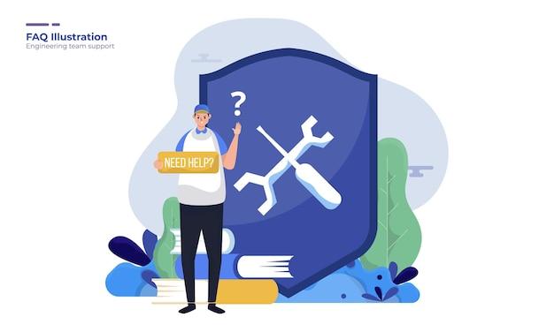 Technicus help team ondersteuning illustratie