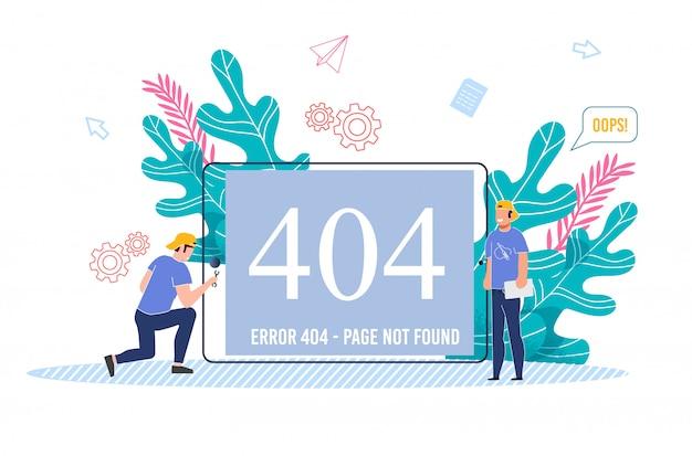 Technicus mannelijk team bezig met het repareren van 404-fout