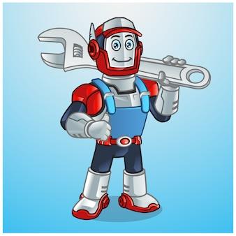 Technicus robot holding wrench cartoon