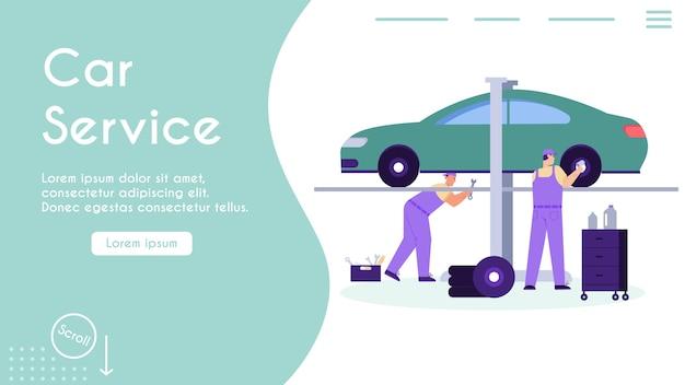 Techniekenteam dat in garage werkt, auto inspecteert, wiel repareert, voertuigprobleem afstemt en oplost.