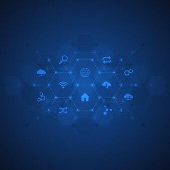 Technische achtergrond met platte pictogrammen en symbolen