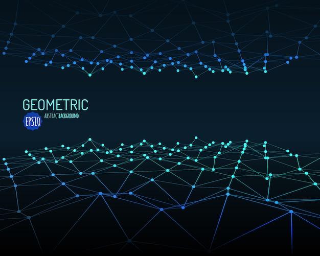 Technische achtergrond. wireframe veelhoekig landschap met aaneengesloten lijnen en punten. .