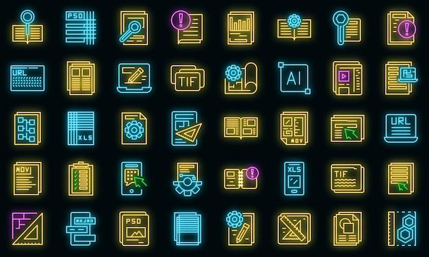 Technische document pictogrammen instellen. overzicht set van technische document vector iconen neon kleur op zwart