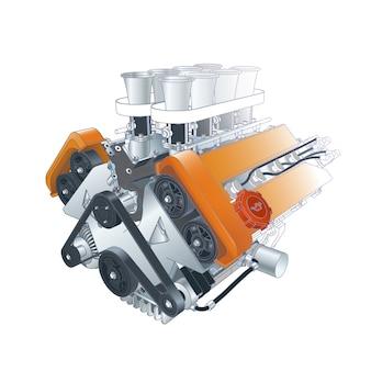 Technische illustratie van motor