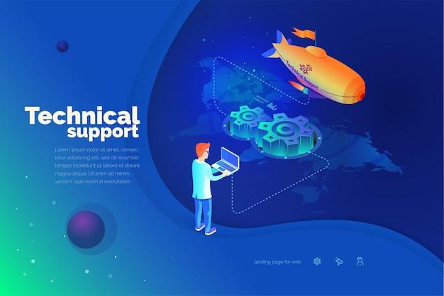 Technische ondersteuning een man communiceert met een technisch ondersteuningssysteem globale kaart van de wereld technische ondersteuning wereldwijd moderne vectorillustratie isometrische stijl