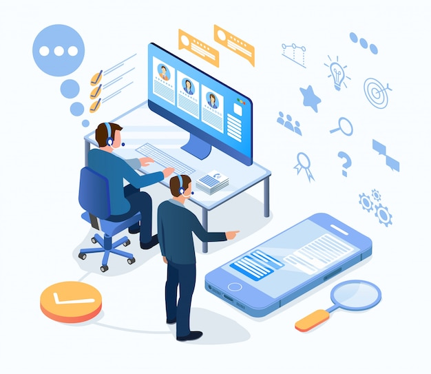 Technische ondersteuning, werk van klantenservicemedewerkers