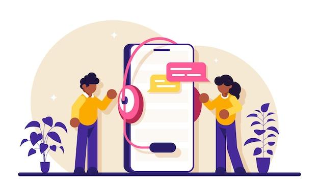 Technische ondersteuningsmedewerkers staan naast een grote telefoon met een headset. faq veelgestelde vragen. communiceren met medewerkers.