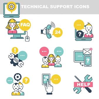 Technische ondersteuningspictogrammen die hulp via telefoon of internet symboliseren