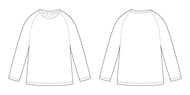 Technische raglan sweater voor kinderen. kinderen dragen trui ontwerpsjabloon geïsoleerd op een witte achtergrond.