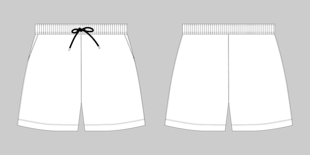 Technische schets sport shorts broek ontwerpsjabloon. mode vectorillustratie op grijze achtergrond