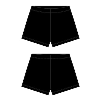 Technische schets unisex shorts in zwarte kleur. outline shorts broek.