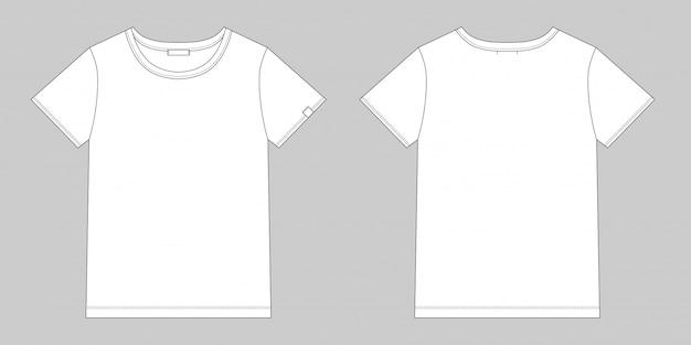 Technische schets unisex t-shirt. leeg t-shirtontwerp. voor- en achterkant vector.