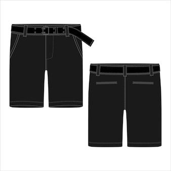 Technische schets zwarte korte broek