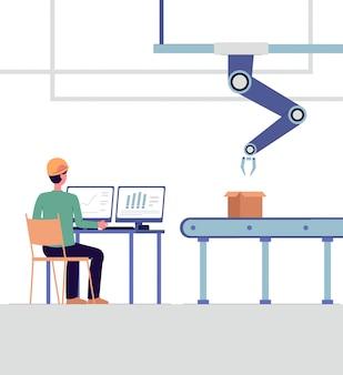 Technische specialist die slimme geïsoleerde fabrieks vlakke vectorillustratie controleren.