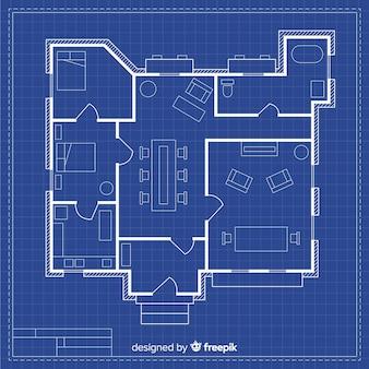 Technische tekening van een huis met blauwdruk