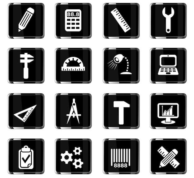 Technische webpictogrammen voor ontwerp van gebruikersinterface