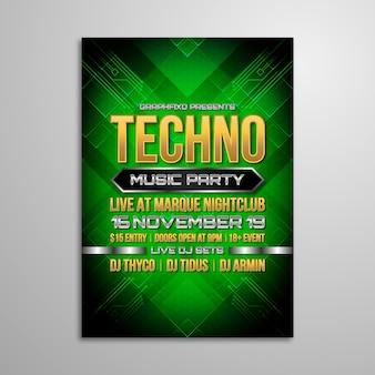Techno muziek festival poster