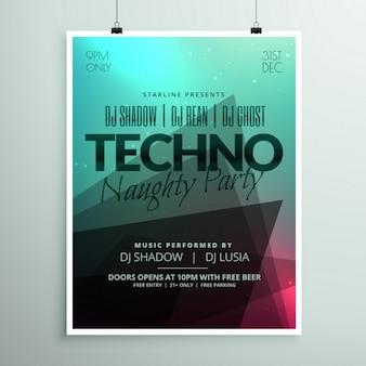Techno muziek partij flyer brochure sjabloon in een moderne abstracte stijl