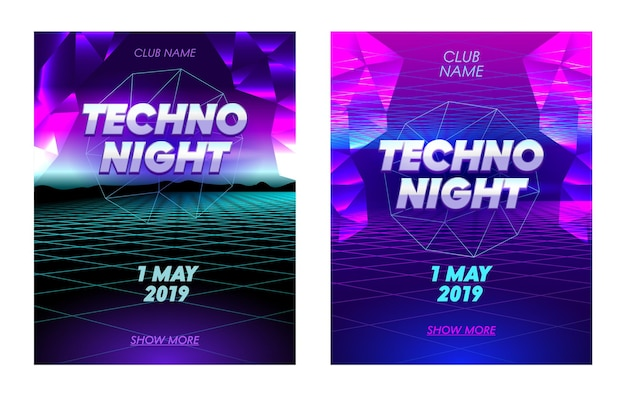 Techno night flyers set met typografie