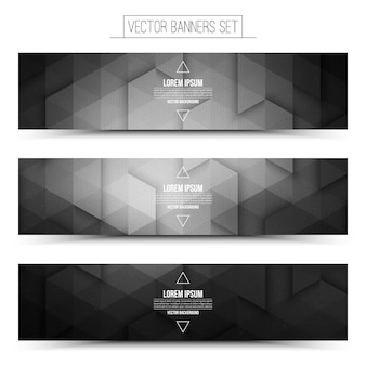 Technologie 3d vector gray web banners set