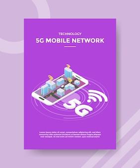 Technologie 5g mobiele netwerkstad op sjabloon voor folder van smartphones