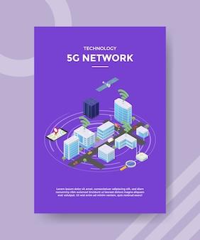 Technologie 5g-netwerksatelite op flyer-sjabloon voor stadsbouwserver