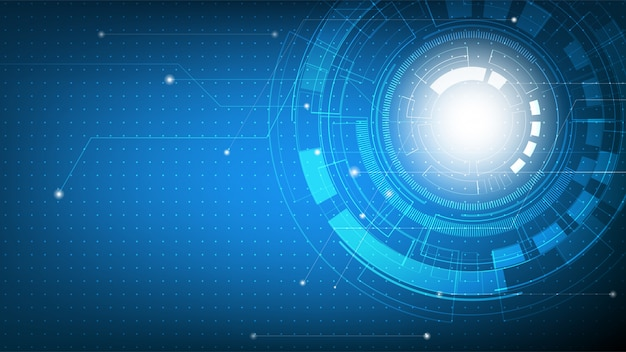 Technologie abstract futuristisch op blauw kleurverloop met printplaat